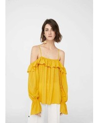 Mango Flowy Off Shoulder Blouse
