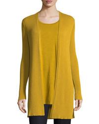 Eileen Fisher Long Straight Wool Crepe Cardigan Petite