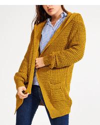 Mustard Hooded Open Cardigan