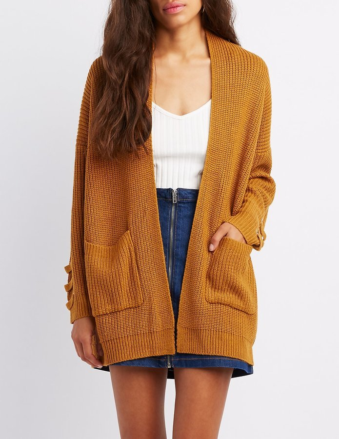 Charlotte Russe Shaker Stitch Lace Up Detail Open Front Cardigan
