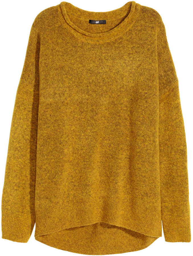 1b10ccf3504 ... Oversized Sweaters H M Knit Sweater Mustard Yellow Melange Ladies ...