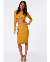 Missguided slinky midi skirt mustard medium 196891