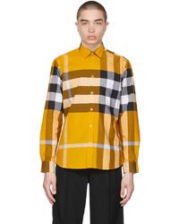 Burberry Yellow Check Stretch Poplin Shirt