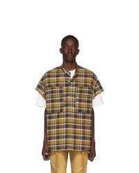 Fear Of God Tan Plaid Short Sleeve Flannel Shirt