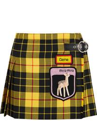 Appliqud tartan wool mini skirt yellow medium 5172983