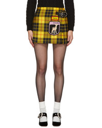 Miu Miu Yellow Tartan Pleated Gene Miniskirt