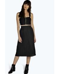 Boohoo Nieve Chiffon Pleated Midi Skirt | Where to buy & how to wear