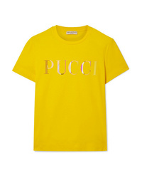 Emilio Pucci Appliqud Cotton Jersey T Shirt