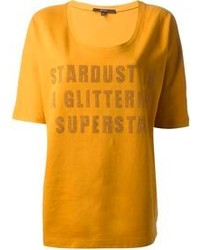 Felpa stardust senape sequinned printed t shirt medium 103263