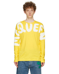 Alexander McQueen Yellow Graffiti Kimono Sleeve Long Sleeve T Shirt