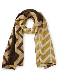 Slanted chevron reversible block print scarf medium 3666016