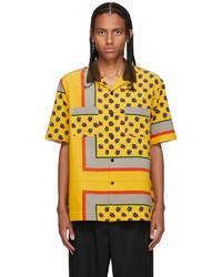 Sacai Yellow Corduroy Floral Short Sleeve Shirt