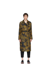 Dries Van Noten Black And Yellow Rennie Floral Trench Coat