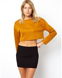 Asos Quilted Crop Top Mustard