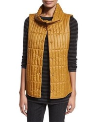 Eileen Fisher Quilted Stand Collar Vest Arnica Yellow