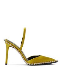 Alexander Wang Yellow Satin Rina Crystal Heels