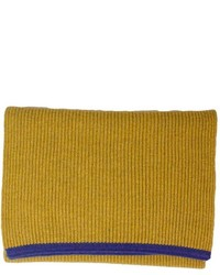 40 Colori Mustard Petrol Blue Small Ribbed Wool Cashmere Scarf