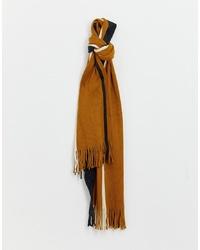 Burton Menswear Scarf In Mustard And Grey Stripe