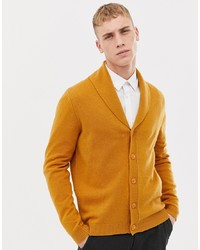 ASOS DESIGN Lambswool Shawl Cardigan In Mustard