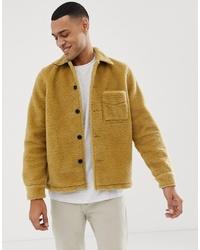 Nudie Jeans Co Sten Recycled Fleece Borg Jacket In Tan