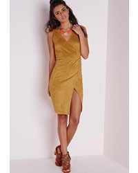 Missguided faux suede wrap front split bodycon dress mustard medium 353197