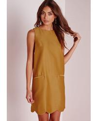 Missguided pocket front scallop hem shift dress mustard medium 455147