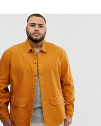 ASOS DESIGN Plus Textured Overshirt In Mustard With Double Pockets