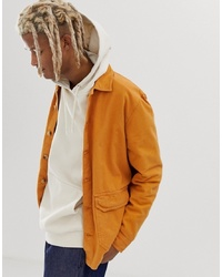 ASOS DESIGN Textured Overshirt In Mustard With Double Pockets