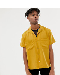 Heart & Dagger Viscose Revere Shirt In Mustard