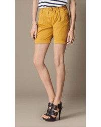 Burberry Pleat Detail Cotton Twill Shorts