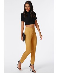 Missguided Franchesca Zip Front Cigarette Trousers Mustard