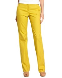 Loro Piana Mustard Yellow Cotton Dafne Caracas Straight Leg Pants