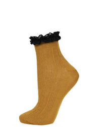 Topshop Black Lace Trim Ankle Socks