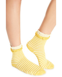 Dailylook Striped Ruffle Socks In Mustard One Size
