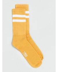 Topman Mustard White Stripe Socks