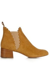 Chloé Chlo Lauren Scallop Edged Suede Ankle Boots