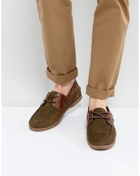 Asos Boat Shoes In Khaki Suede With Gum Sole