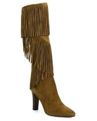 Saint Laurent Lily Fringe Suede Tall Boots