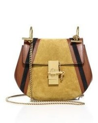 Chloé Chloe Drew Mini Patchwork Leather Suede Saddle Crossbody Bag