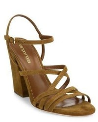 Mustard Suede Heeled Sandals