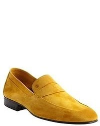 Fendi Yellow Suede Penny Strap Loafers
