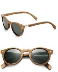 Shwood Florence Teak Oak Round Sunglasses