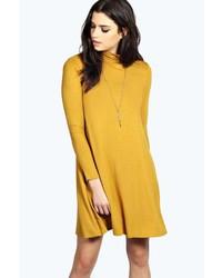 Boohoo Faye Turtle Neck Long Sleeve Swing Dress