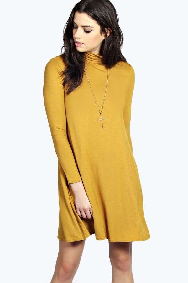 Boohoo Faye Turtle Neck Long Sleeve Swing Dress | Where to buy ...