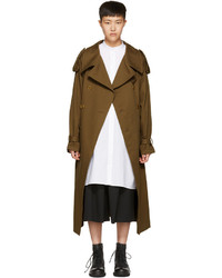 Y's Ys Brown Oversized Trench Coat
