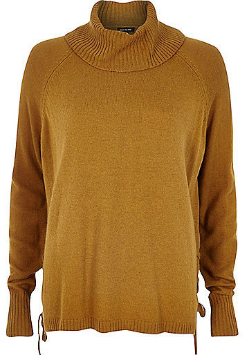 River Island Dark Yellow Lace Up Side Knitted Sweater | Where to ...
