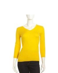 Neiman Marcus Cashmere V Neck 34 Sleeve Sweater Yellow