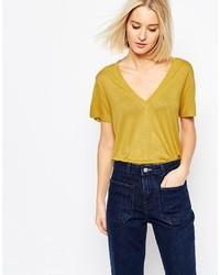 Mustard V-neck T-shirt