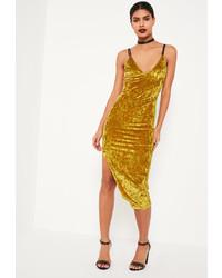 Mustard Velvet Bodycon Dress