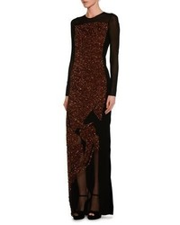 Tom Ford Sequined Velvet Long Sleeve Gown